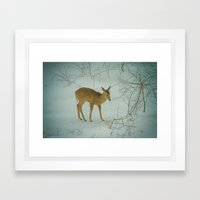 Deer Winter Framed Art Print