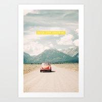 NEVER STOP EXPLORING V - vintage volkswagen bug Art Print
