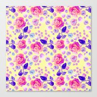 Rosaful rose pattern #Lemon Canvas Print