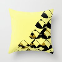 Drops Abstract Yellow Bl… Throw Pillow