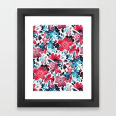 Happy Red Flower Collage Framed Art Print