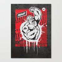 Mayhem Ape (Black on Red) Canvas Print