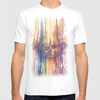 RAINBOW SKULL Mens Fitted Tee White SMALL