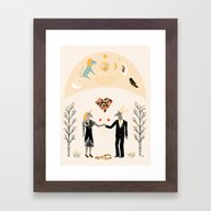 Framed Art Print featuring The Stag Finally Found H… by Sophiequi