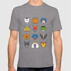 Super Dogs Mens Fitted Tee Tri-Grey SMALL