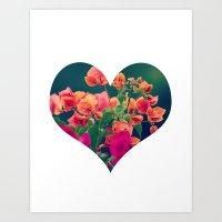 Corazón De Las Flores  Art Print