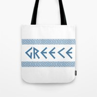 Greece Nation Text Tote Bag