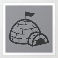 gray igloo Art Print