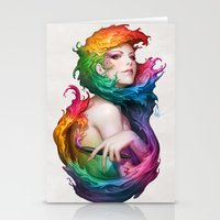rainbow Stationery Cards featuring Angel of Colors by Artgerm™