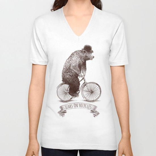 Bears on Bicycles V-neck T-shirt