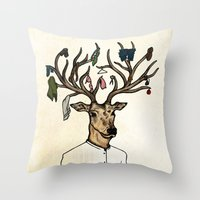Evicted deer Throw Pillow