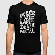 Peace Love Death Metal Mens Fitted Tee Black SMALL