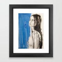 The figure of a woman crossing from one room to another Framed Art Print