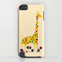 iPod Touch Cases featuring Paint by number giraffe by Budi Kwan