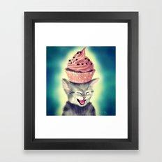 Cupcake Kitten Framed Art Print
