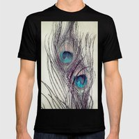 Peacock Feathers Mens Fitted Tee Black SMALL