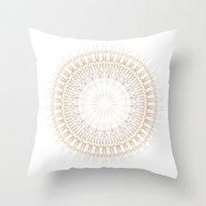 Beige White Mandala Throw Pillow
