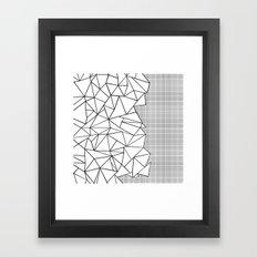 Abstraction Outline Grid on Side White Framed Art Print