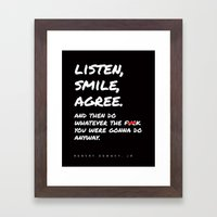 Robert Downey Jr - Listen Smile Agree Framed Art Print