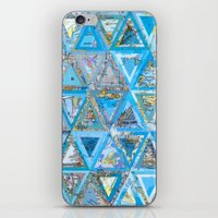 Blue Triangle Map Collage iPhone & iPod Skin