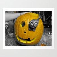 Halloween-Figgy Cat Art Print