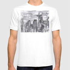 Seattle Skyline Watercolor Space Needle White Mens Fitted Tee SMALL