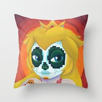 Day of the Digital Dead Princess Peach Throw Pillow