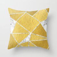Shattered Gold + Marble Throw Pillow
