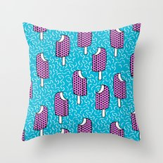 Bite Me - popsicle throwback 80s style memphis dots pattern trendy hipster summer ice cream Throw Pillow