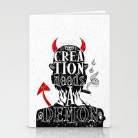 CREATION NEEDS A DEMON Stationery Cards