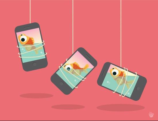 3 iphone fish Art Print