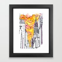 New York Sunset Framed Art Print