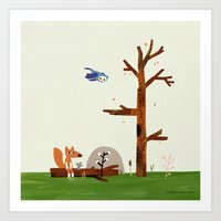 Owl Flies By Fox And Mou… Art Print