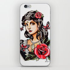 Girl with Butterflies - tattoo iPhone & iPod Skin
