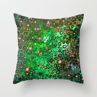 RAINBOW DOTTY OCEAN 3 Green Lime Ombre Space Galaxy Colorful Polka Dot Bubbles Abstract Painting Art Throw Pillow