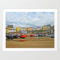 Tenby Harbour . Sunlight… Art Print