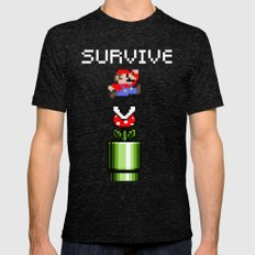 Mario survive Mens Fitted Tee Tri-Black SMALL