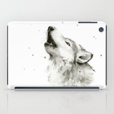 Wolf Howling Watercolor Wildlife Painting iPad Case