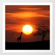 Art Print featuring Giraffe Sundown by EARTh