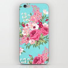 Cottage Chic Pink and Red Roses on Turquoise Linen iPhone & iPod Skin