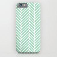 Herringbone Mint Zoom iPhone 6 Slim Case