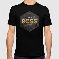 Like a boss Mens Fitted Tee Black SMALL