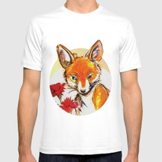 Fox in Sunset White Mens Fitted Tee SMALL