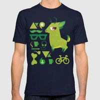 Hipsdeer (green) Mens Fitted Tee Navy SMALL