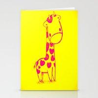 Pink Cute Giraffe Stationery Cards