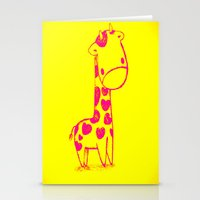 Pink Cute Giraffe Stationery Cards