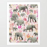 Sweet Elephants in Pink, Orange and Cream Art Print