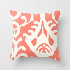 Ikat in coral  Throw Pillow