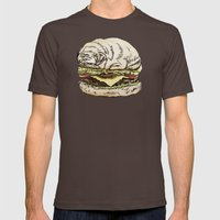 Pug Burger Mens Fitted Tee Brown SMALL