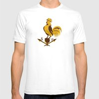 Rooster Cockerel Crowing… Mens Fitted Tee White SMALL